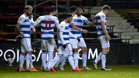 Queens Park Rangers Charlie Austin (left) celebrates scoring his side's first goal of the game durin