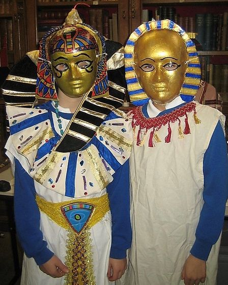 Children during the Ancient Egypt workshop, dressed as Ancient Egyptians