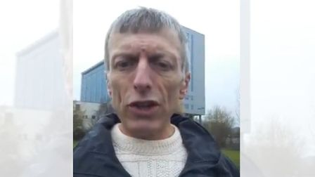 Tory candidate for Glasgow Pollok Craig Ross outside a building
