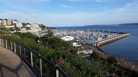 View of Torquay Marina and the Princess Theatre from Royal Terrace Gardens, also known as Rock Walk