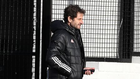 Arsenal manager Joe Montemurro prior to kick-off during the FA Women's Super League match at the Mea