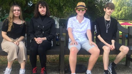 Suffolk New College students Daisy, Scarlett, Jim and Luke sat at Christchurch Park in Ipswich