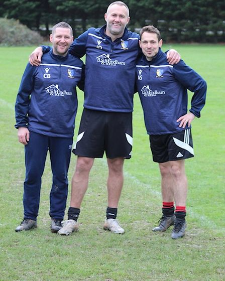Norwich United coaches and managers have praised their players for their donations. Pictured is Chris Bone (left) Julian Driver and Alex Symington.