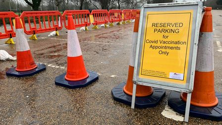 Reserved parking in Wisbech ahead of the biggest nationwide vaccination programme in living memory.