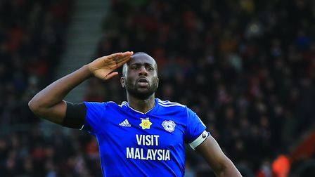 Cardiff City's Sol Bamba celebrates scoring his side's first goal of the game during the Premier Lea