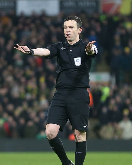 Referee Tony Harrington during the Sky Bet Championship match at Carrow Road, NorwichPicture by Pa
