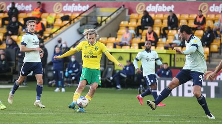 Todd Cantwell of Norwich scores his sides 2nd goal during the Sky Bet Championship match at Carrow R