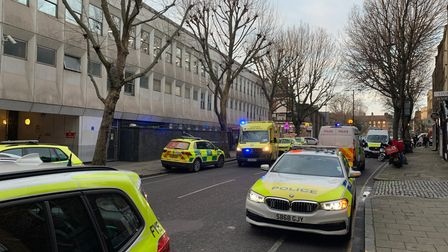 Penton Street with police cars and ambulances