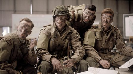 A scene from the first episode of Band of Brothers, which was largely filmed on location in Hatfield, Hertfordshire.