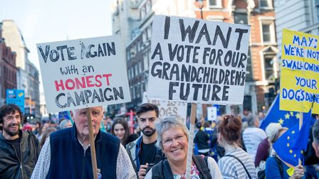 Members Of The Public March To Demand A People's Vote On Brexit. (Photo by Ollie Millington/Getty Im