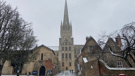 Snow at Norwich Cathedral.