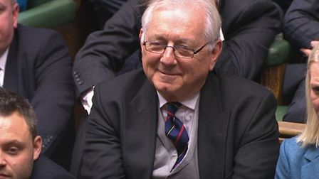 Sir Peter Bottomley in the House of Commons, London, after becoming Father of the House. Picture: Ho