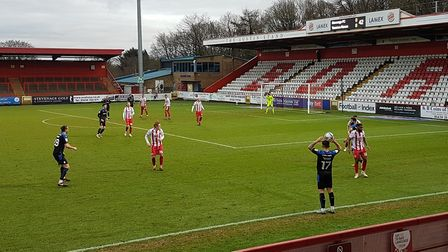 Action from Stevenage FC against Tranmere Rovers