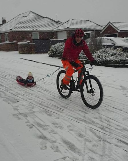 You don't always need a hill to go sledding in Mulbarton.