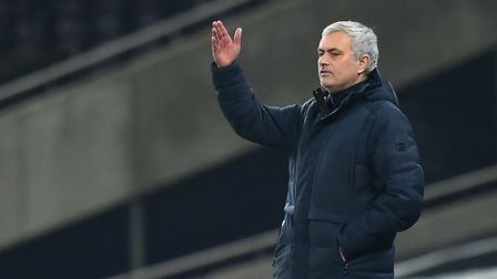 Tottenham manager Jose Mourinho gestures on the touchline