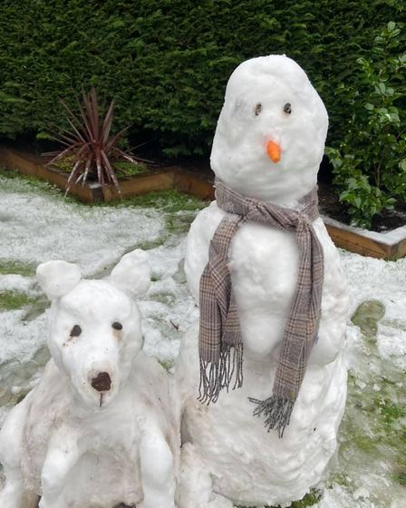 A snowman and his snowdog made an appearance in Attleborough.