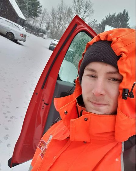 The snow didn't stop postman Ross from completing his rounds in Long Stratton.