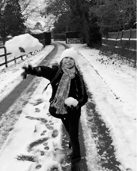 Leyani wasted no time before starting a snowball fight in Old Buckenham.