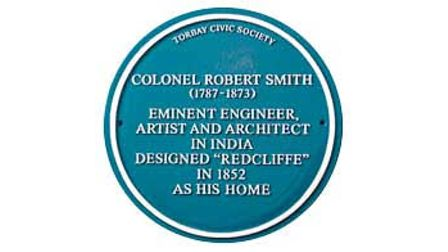 Torbay Civic Society's Blue Plaque honouring Colonel Smith and Redclliffe