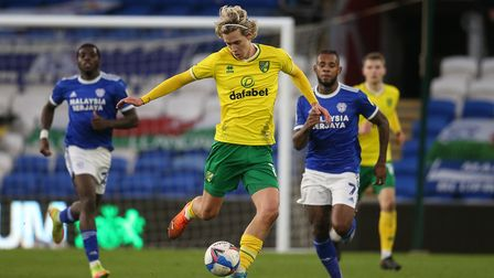 Todd Cantwell of Norwich in action during the Sky Bet Championship match at the Cardiff City Stadium