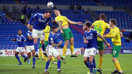 Kieffer Moore of Cardiff City and Jordan Hugill of Norwich in action during the Sky Bet Championship