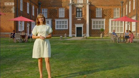 Fiona Bruce outside Christchurch Mansion in an episode of Antiques Roadshow.
