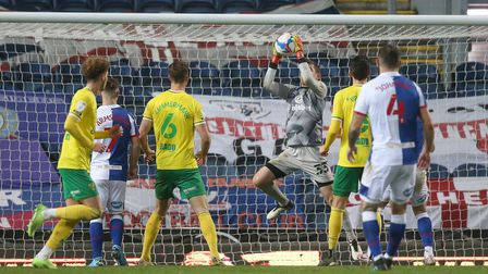 Michael McGovern of Norwich collects the ball safely during the Sky Bet Championship match at Ewood