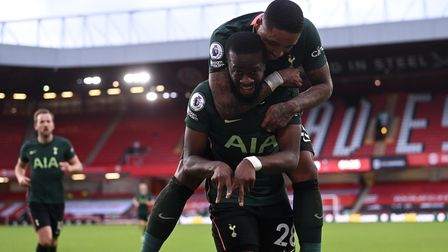 Tottenham Hotspur's Tanguy Ndombele celebrates scoring his side's third goal of the game with teamma