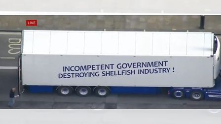 One of the lorries protesting on the roads near Downing Street