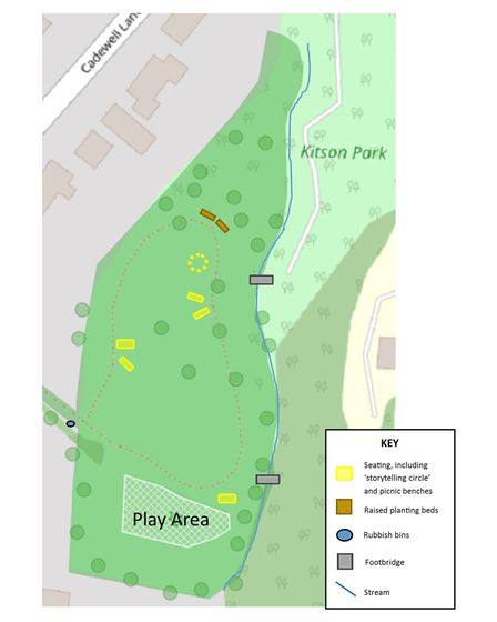 Basic map of Kitson Park, Torquay, showing current features