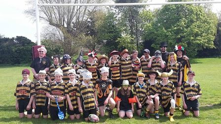 Miles Lewis with youth members of Letchworth Garden City Rugby Football Club