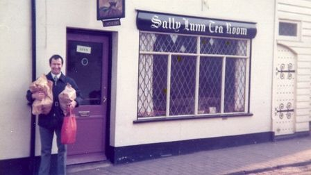 Sally Lunn tea rooms, March 1976 in St Michael's village