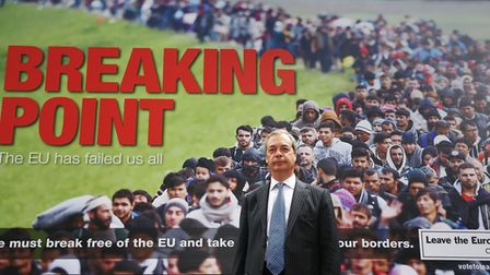 Nigel Farage launching a new referendum poster campaign. Photograph: Phil Toscano/PA.