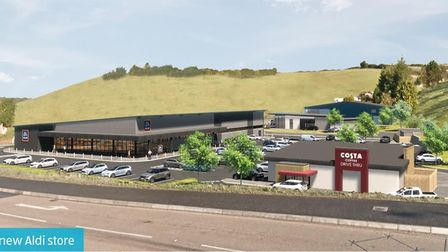 Artist's impression of the proposed new Aldi store at Kerswell Gardens