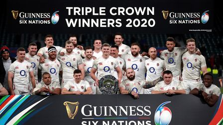 England celebrate winning the 2020 triple crown in the Six Nations