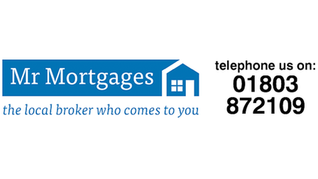 Mr Mortgages logo, the white words on a blue background with an outline of a house inset at the end