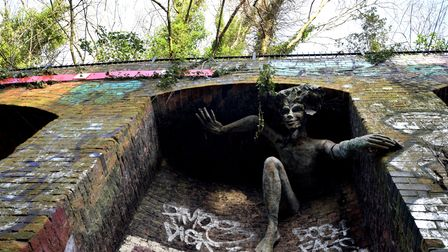 Sculpture of a Spriggan by Marilyn Collins was installed in the Parkland Walk in 1993.