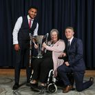 Sandra with TUFC players Jamie Reid and Jake Andrews