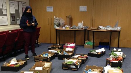 Food boxes sorted at the Abbey Theatre ready to be delivered to families.