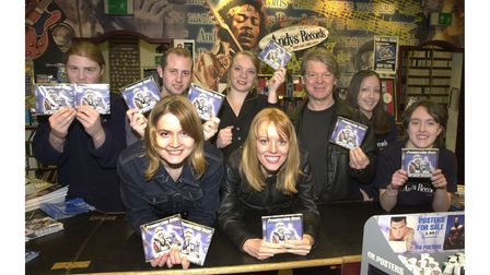 The Pitch Invaders join together with staff at Andy's Records to promote the Tractor Boys CD in 2001