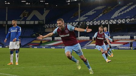 West Ham United's Tomas Soucek celebrates scoring his side's first goal of the game during the Premi