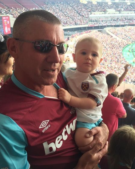 Lee Bozier and youngest son Zach at a West Ham match.