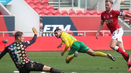 Emi Buendia fired Norwich 3-1 ahead just before half-time at Ashton Gate Picture: Paul Chesterton/