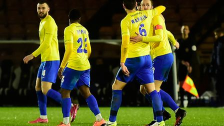 Goal celebrations for Asa Hall of Torquay United during the FA Trophy Second Round match between Bor