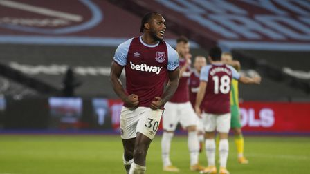 West Ham United's Michail Antonio celebrates scoring his side's second goal of the game during the P