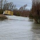 his lorry driver, quite seriously, tried to drive through flooded Welney Wash road yesterday (January19).