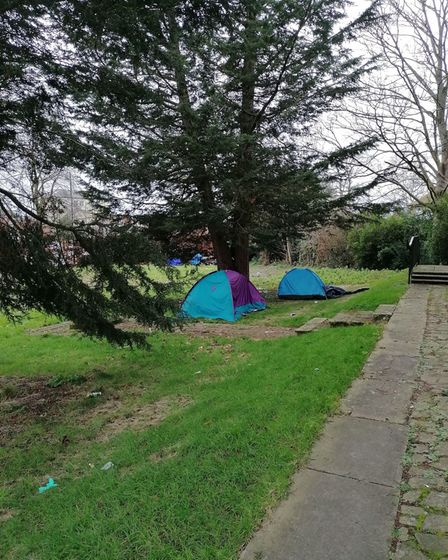 Tents were pitched near St Peter's Church gardens in Wisbech.