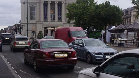 Traffic outside St Albans Museum + Gallery