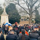 More than 100 people attended the service in Coronation Gardens, Romford for Holocaust Memorial Day