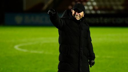 Gary Johnson, Manager of Torquay United celebrates after the FA Trophy Second Round match between Bo